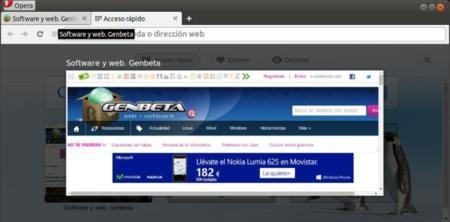 Opera Developer 24.0 para GNU/Linux, vista previa de pestañas