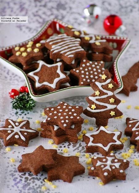 Galletas de chocolate y mazapán. Receta de Navidad
