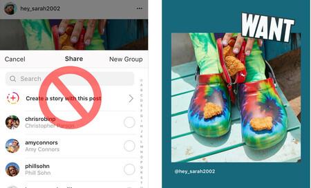 Instagram ya no deja compartir publicaciones normales como historias a algunos usuarios
