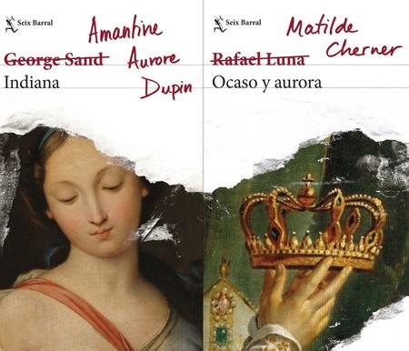 Estas portadas de libros tachan los seudónimos masculinos para dejar ver a sus autoras y es la mejor forma de dar visibilidad a su historia