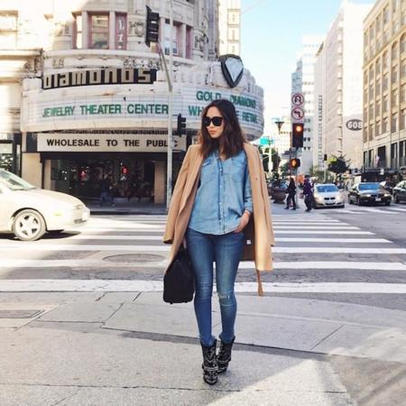 Aimee Song Denim On Denim Camel Coat