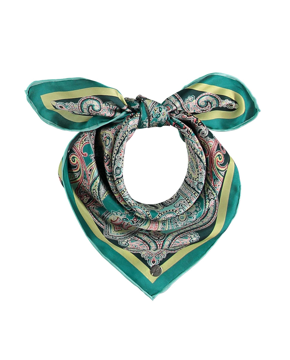 Bandana de seda V.Frass en tono verde estampado