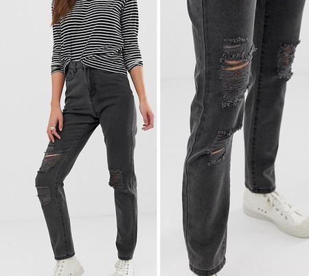 Jeans Grises Rotos