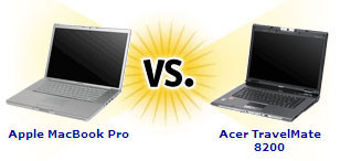 Comparativa CNET: MacBook Pro vs. Acer TravelMate 8200