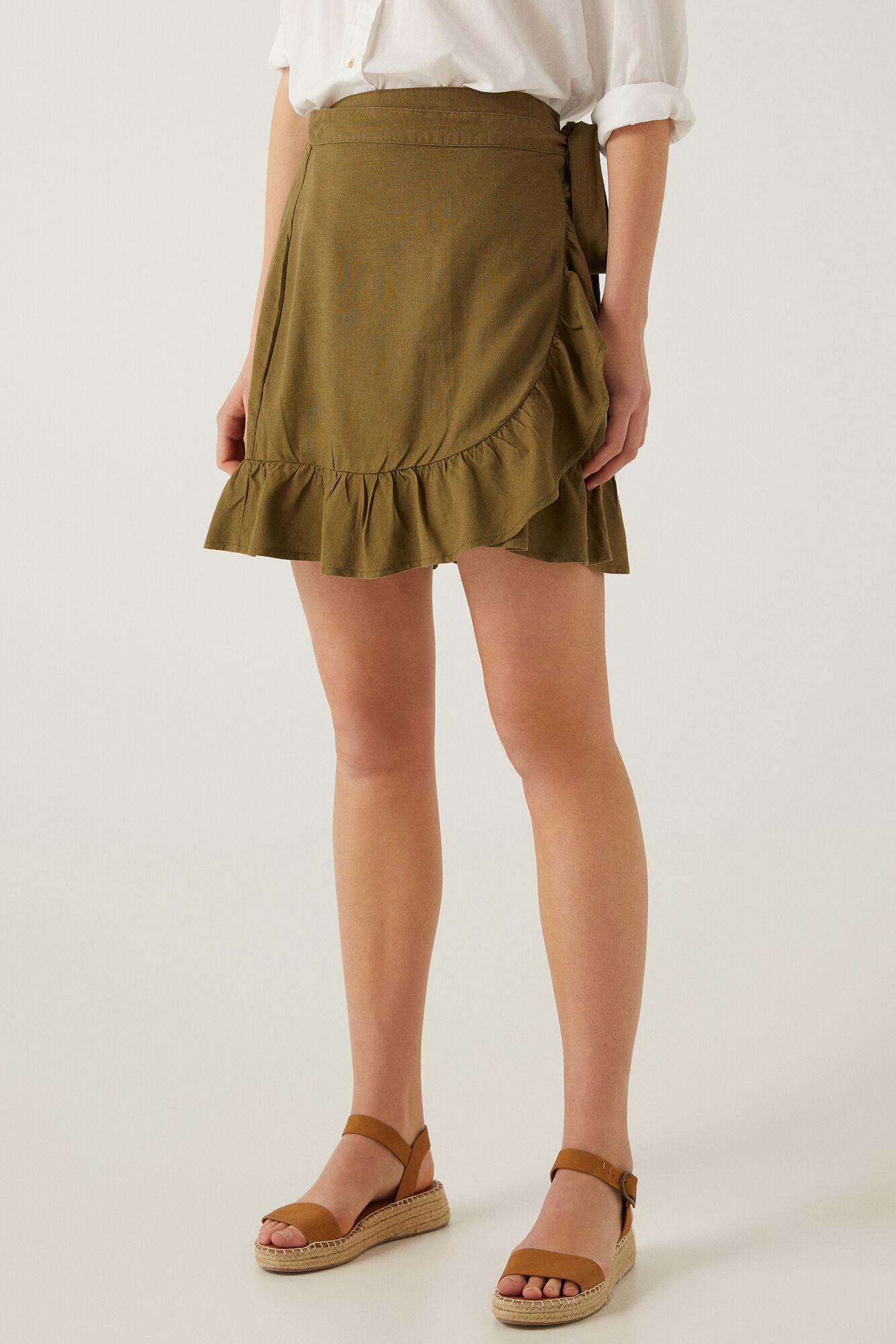 Falda de volantes de lino