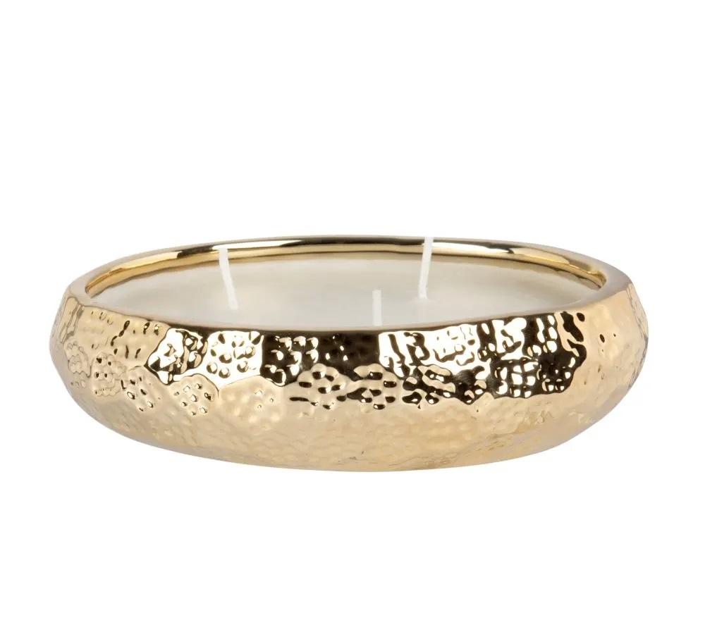 Vela con tres mechas en cuenco de cerámica dorada