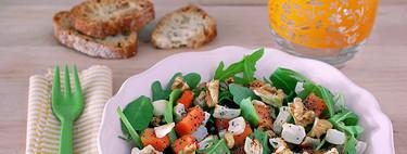 Ensalada de nabo asado con papaya y rúcula. Receta