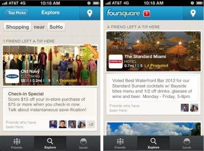 Foursquare empieza a monetizarse con unas nuevas ofertas y descuentos