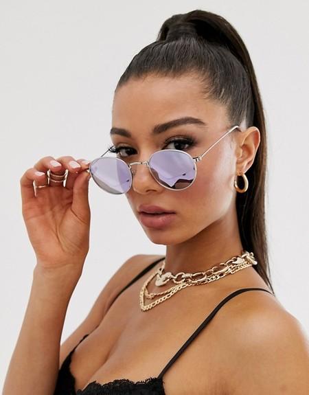 gafas de sol de metal redondas de diseño noventero de asos design