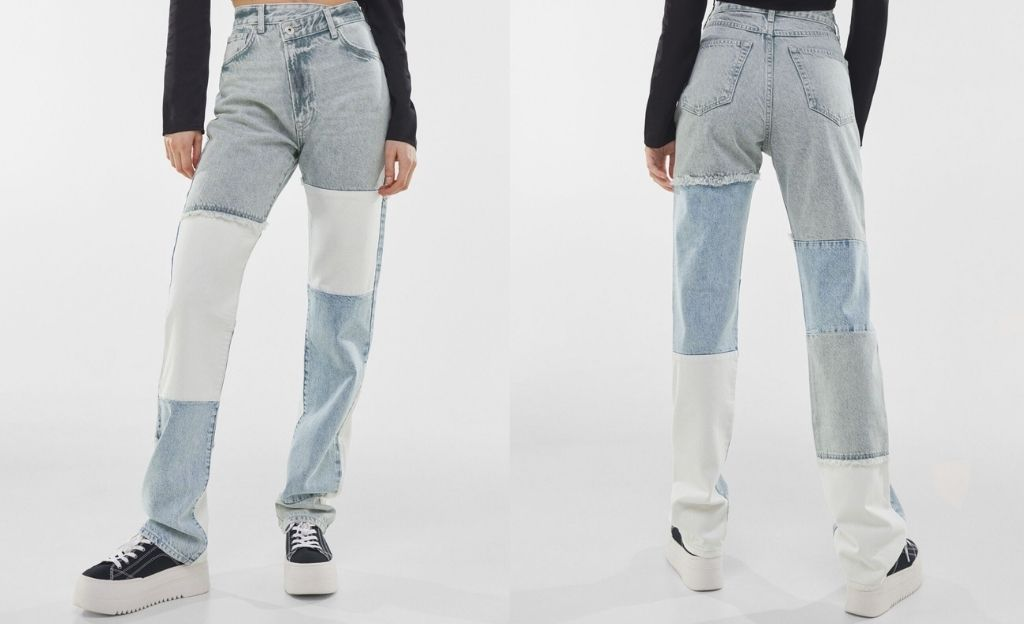 Jeans straight two-tone