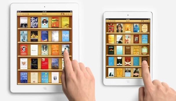 Anuncio del iPad y el iPad mini mostrando la capacidad como lector de libros electrónicos