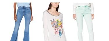 Chollos en tallas sueltas de pantalones y camisetas Lee, Pepe Jeans o Desigual por menos de 20 euros en Amazon