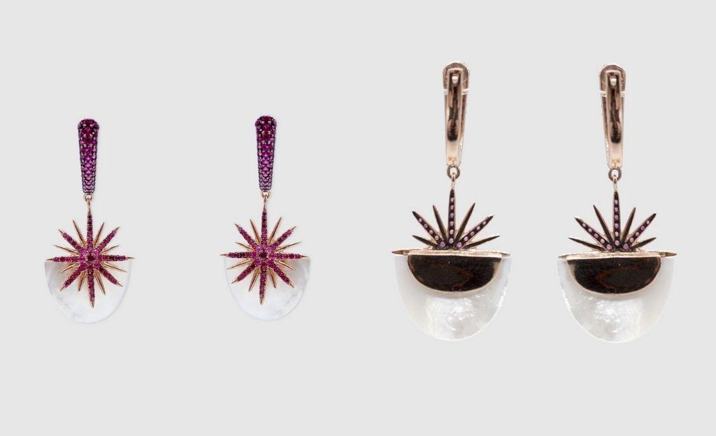 Pendientes Alexandra Plata Atelier de plata rosa de nácar y circonita