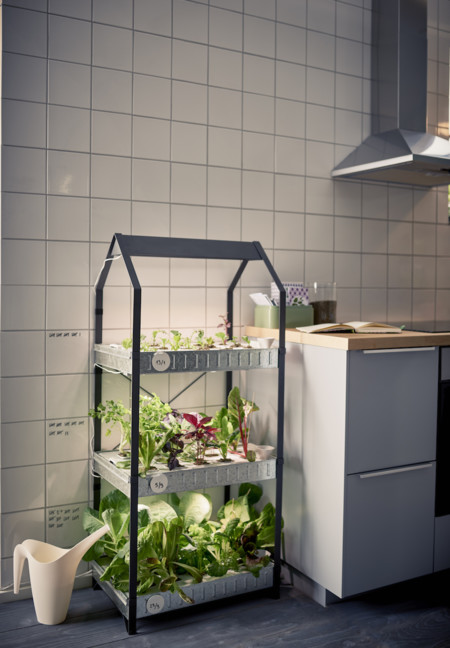 Ikea Coleccion Indoor Gardening 2016 Ph133376 Krydda Estante Plantas 3 Niveles Acero Negro Galvaniza