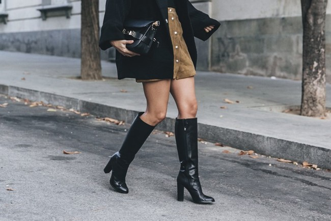 High Boots Suede Skirt Iro Paris Black Jacket Off The Shoulders Sweater Outfit Street Style 64 790x527