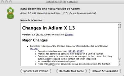 Nueva actualización Adium 1.3