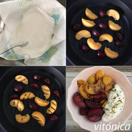 Frutas a la parrilla con Labneh. Pasos