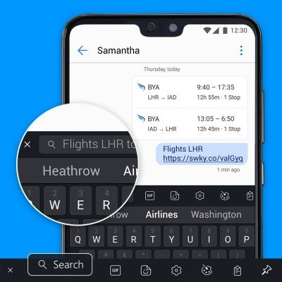 Search Flights Swiftkey
