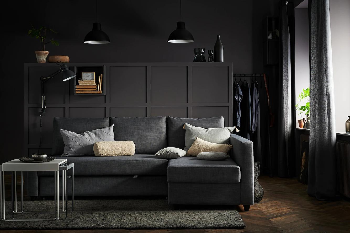 FRIHETEN, Sofá cama esquina con almacenaje, Skiftebo gris oscuro