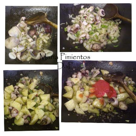 Calamares en su tinta con patatas