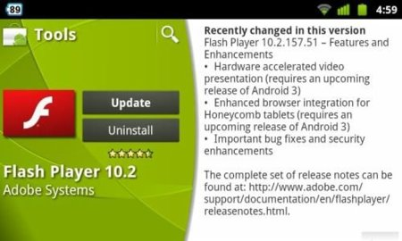 Adobe Flash 10.2 para Android se actualiza con mejoras de seguridad y mayor integración en Honeycomb