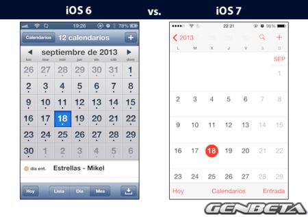 iOs 6 vs iOs 7 - calendario