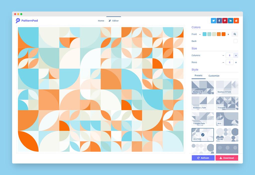 En esta web puedes diseñar patrones con variaciones infinitas y descargarlos en SVG, JPEG o PNG