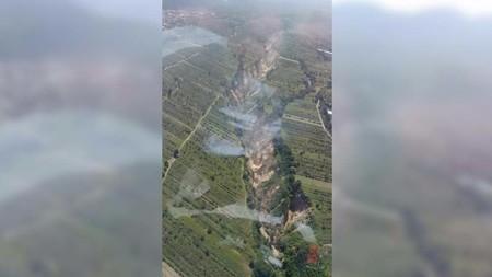 Esta imagen de Huejotzingo Puebla es real, pero no se abrió la tierra, esto fue lo que sucedió