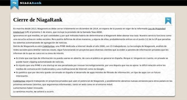 El agregador de noticias NiagaRank cierra en España víctima del canon AEDE