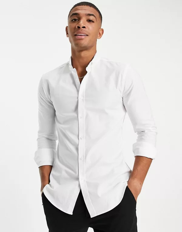 Camisa oxford ajustada de manga larga en blanco de New Look
