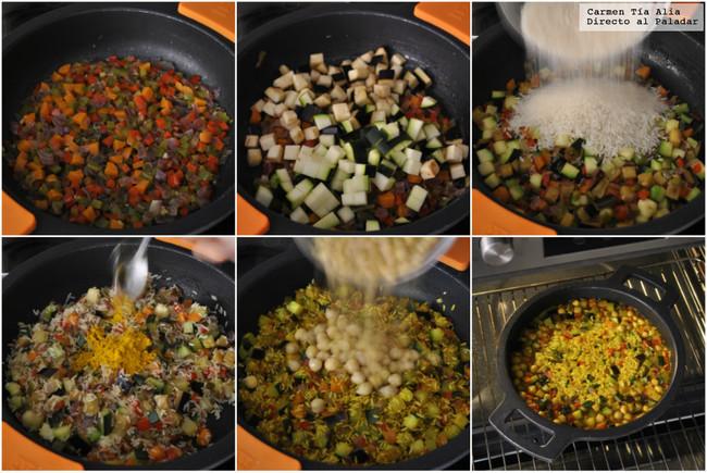 Paso a paso arroz especiado de verduras y garbanzos