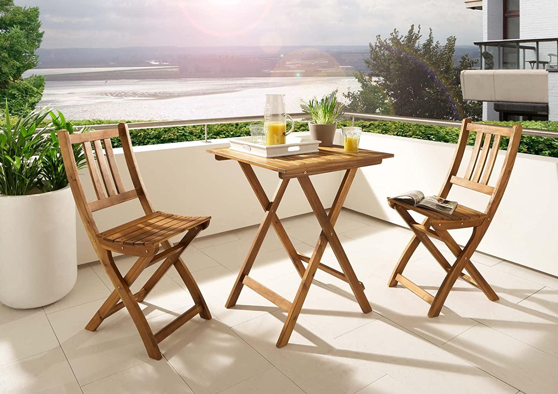 SAM Klappstuhl Silla de jardín Plegable para balcón y terraza, Madera de Acacia, marrón, Gartenstuhl Blossom