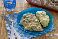 Filetes de lomo de cerdo en salsa de champiñones con queso brie. Receta