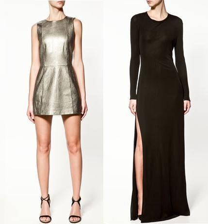 zara vestido metalizado