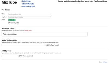 MixTube, crea listas de reproducción de música basado en los vídeos de YouTube