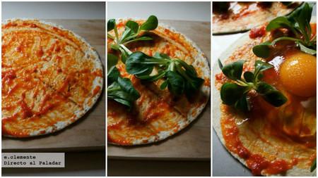 Minipizzas exprés de huevo y jamón serrano