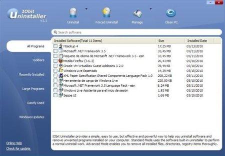 IObit Uninstaller: encuentra y desinstala rápidamente programas