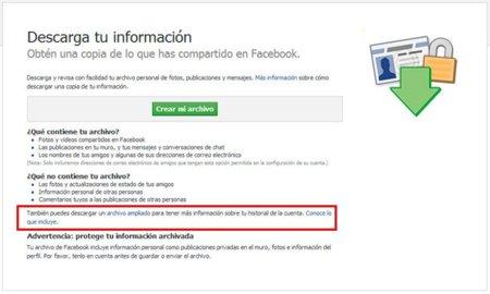 Facebook incluye la IP de cada sesión y otros datos en el informe personal descargable de cada usuario
