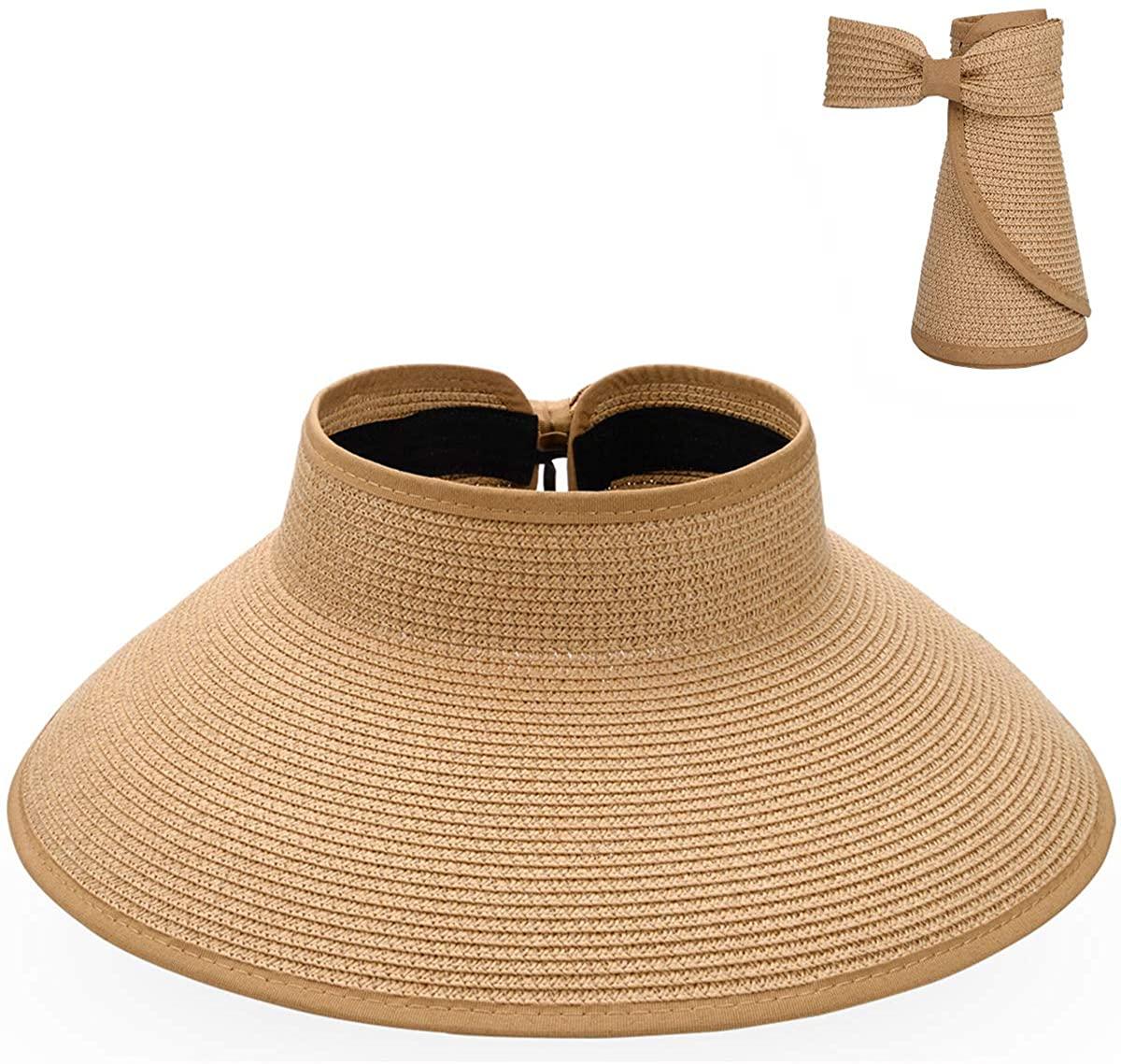 Maylisacc Sombrero de Visera Plegable Verano Sombrero para el Sol Mujeres con Bowknot para Damas UPF50