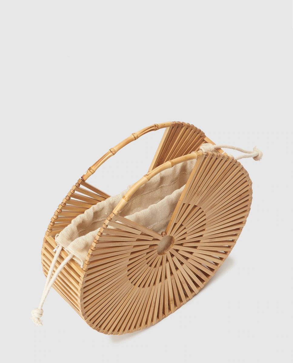 Bolso redondo de bambú de Tintoretto