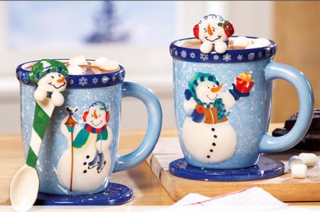 Idea de regalo de Navidad: set de taza y cuchara con diseño de muñeco de nieve