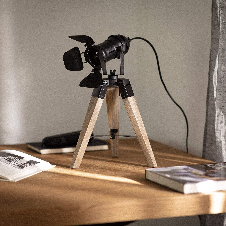 LEDKIA LIGHTING Lámpara de Mesa Kurangna XS 400x250x250 mm Negro E14 Casquillo Fino Metal - Madera Decoración Salón, Habitación, Dormitorio [Clase de eficiencia energética A]