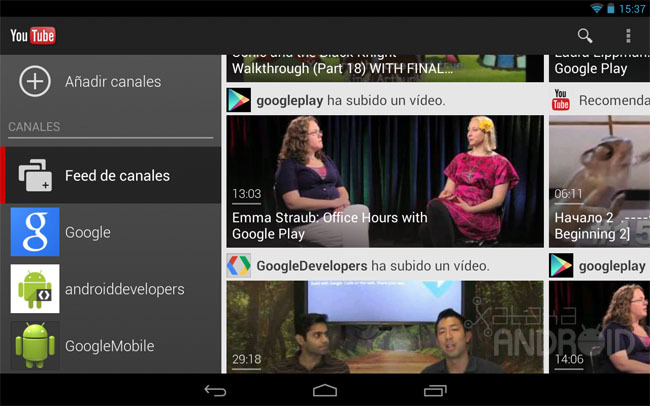 YouTube para tablets Android