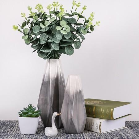 TERESA'S COLLECTIONS Florero de Cerámica Jarrón, Conjunto de 2 floreros Decorativos geométricos Modernos Hechos a Mano Grises