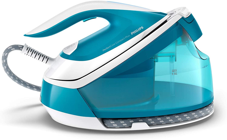 Philips GC7923/20 - Centro de planchado sin quemaduras ni necesidad de realizar ajustes de la temperatura, 6.5 bares, golpe de vapor 440 g, autoapagado, tamaño Compacto, suela especial, color azul