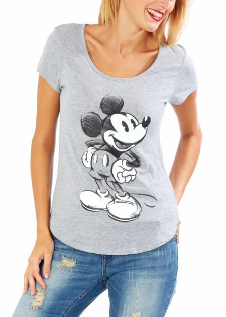 Camiseta De Manga Corta Con Estampado Mickey Gris Mujer Gd442 1 Zc1