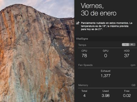 VitalSigns nos presenta un widget con información de nuestro Mac con OS X Yosemite
