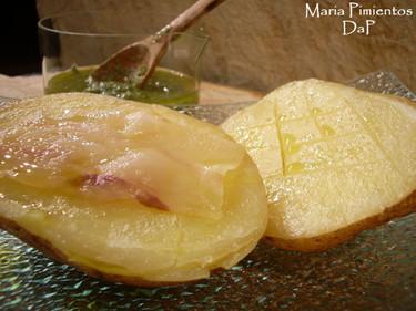 Patatas asadas con tocino ibérico. Receta