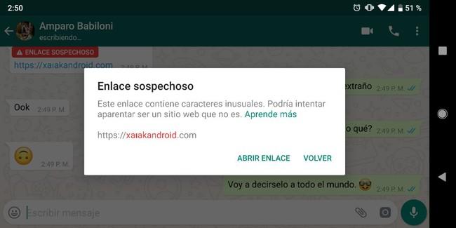 WhatsApp ya detecta si un enlace es sospechoso y nos alertará antes de pulsarlo