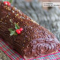 Tronco de navidad con chocolate y mascarpone. Receta de navidad